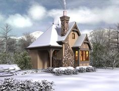 Mascord House Plan 5033 - The Bucklebury - I do think you could even get a small dormer in that roof in the front and it wouldn't change the cuteness and would make more room for a sleeping situation upstairs. Really love this plan!