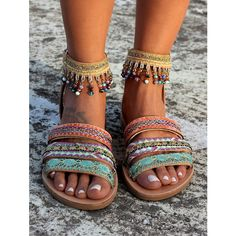 Strappy sandals with three leather straps that embrace the foot and one ank Women's Shoes, Boho Shoes, Cute Shoes, Me Too Shoes, Ankle Strap Sandals, Strappy Sandals, Leather Sandals, Women Sandals, Gladiator Sandals