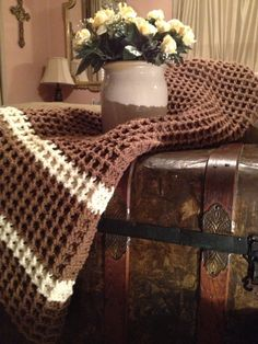 Brown& cream crocheted throw