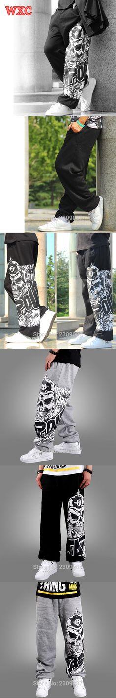 Hip Hop Style Men Student Pants Summer Casual Black Gray Skull Print Long Harem Trousers Big Size Loose Street Dance Pants WXC
