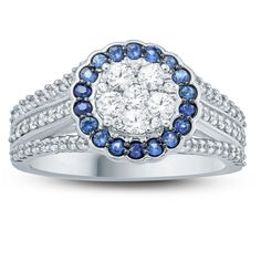 1 Carat Round Blue Sapphire And Diamond Cluster Engagement Ring In 10K Gold.