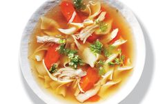 Our double-dark chicken noodle soup begins with a deeply flavored stock made from chicken wings.