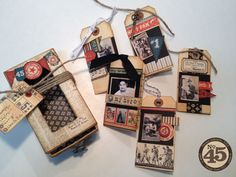 """Altered Matchbook Box and Tags by Denise Johnson  (021714)  """"Craft a card/tag for each special guy in your life to start your very own All Star card collection.Each tag features a photo, title and brief bio on just what makes that guy such an all star in your world. Create a sliding drawer matchbook box to store and display your priceless collection.""""  designer's site:  http://junquesoiree.blogspot.com/"""