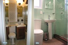 Before and after small bathroom remodel...like the pedestal sink and the hand towel rack over sink.