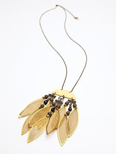 Mimi Scholer Gold Leaves Pendant at Free People Clothing Boutique