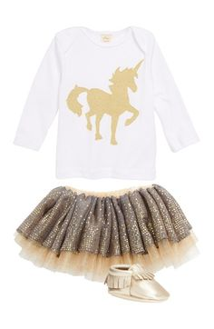 oh baby! Long Sleeve Cotton Top & Reversible Tutu Skirt (Baby Girls) available at #Nordstrom