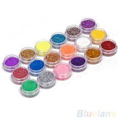 18 Colors Nail Art Decoration Metal Powder Glitter Dust Set For UV Gel Acrylic #Affiliate