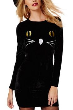 Black Long Sleeve Cat Face Embroidery Bodycon Dress,Long Sleeved Dresses,Long Sleeves Dresses,Long Sleeve Lace Dresses,Long Sleeve Maxi Dresses,Long Sleeve Long Dresses,Long Sleeve Mini Dresses,Long Sleeve Short Dresses,Long Sleeve V #long sleeve dress  casual dress  #black dress,