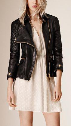 Burberry Brit Diamond Quilt Detail Leather Biker Jacket