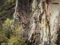 Joe Mills on the seldom climbed Book of Numbers, 5.12 in Eldorado Canyon on a beautiful spring afternoon.