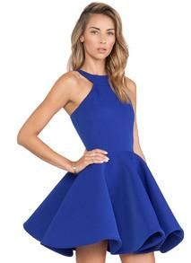 blue sleeveless halter dress, blue flare dress, trendy flare out dress - Crystalline