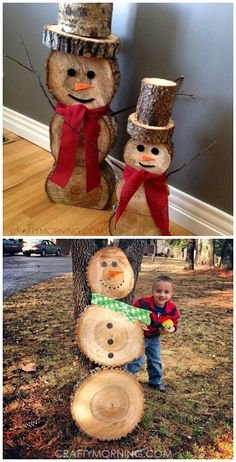 Wood Log Snowmen Decorations for Christmas and winter time! Wood Log Snowmen Decorations for Christmas and winter time! Wood Log Crafts, Christmas Wood Crafts, Rustic Christmas, Christmas Projects, Holiday Crafts, Christmas Crafts, Log Projects, Vinyl Projects, Log Snowman
