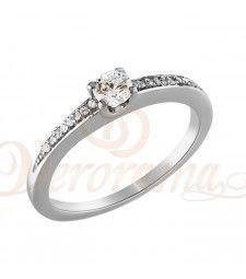 Μονόπετρo δαχτυλίδι Κ18 λευκόχρυσο με διαμάντι κοπής brilliant - MBR_089