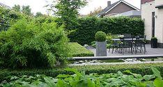 http://www.tuindesign-ten-horn.nl Tuinarchitect - tuinontwerp. Moderne strakke kleine voortuin en achtertuin met weinig onderhoud in Limburg.