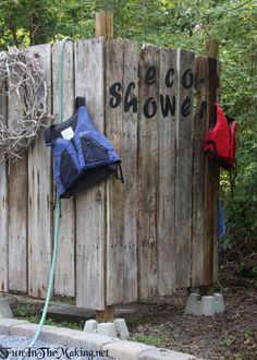 Eco-Shower: Rustic Outdoor Shower Made From Salvaged Antique Barn Stall Walls or Fence Slats
