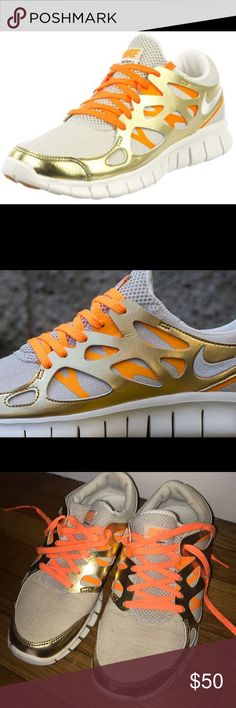 Rare gold, white & orange Nike free run 2 sneakers Nike free run 2 sneakers in white, gold and orange Nike Shoes Sneakers