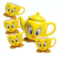 TWEETY BIRD 5 PC TEA SET TEA POT CERAMIC DECOR