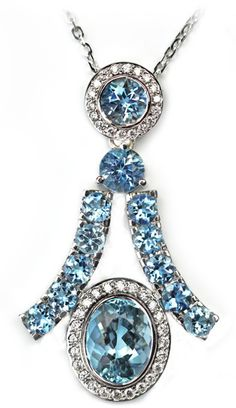 Aquamarine and Diamond Pendant, Janet Deleuse Deco Collection, only one www.deleuse.com free shipping