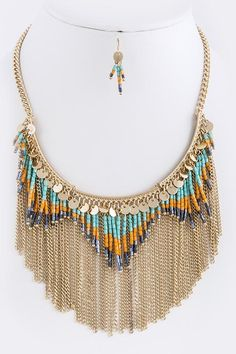 "BEAD CHAIN FRINGE BIB NECKLACE SET Approx. 17"" length • Lobster claw clasp with 3"" extender • Lead/Nickel compliant"