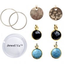 A great assortment of drops to pair with your gold hoops! Hoop Earring & Bezel Set Drop Set www.jewelya.com