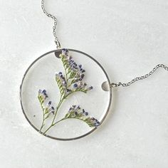 Silver Caspia Necklace Pressed Flower Jewelry Botanical