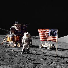Moon photo of NASA Apollo Astronaut lunar module Challenger pilot Harrison H. Schmitt was taken by Gene Cernan.
