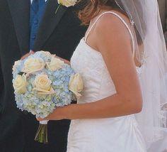 Cornflower Blue Hydrangea with White Roses.