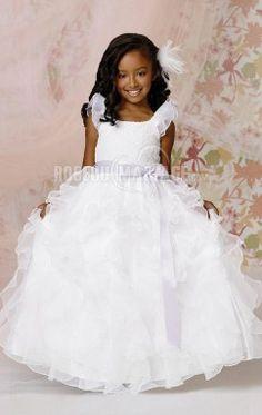 Col en u robe cortège enfant princesse ceinture organza