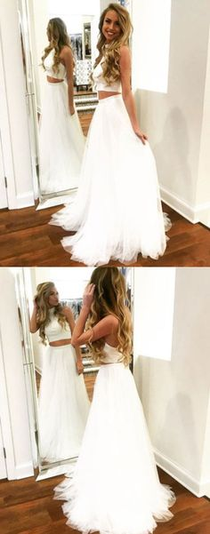 white two pieces long prom dress, white evening dress, formal dress