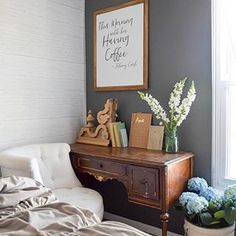 We spent the day outside planting and getting our backyard ready for the holiday weekend. Now it's time to snuggle up with a good book before bed. Make sure to stop by the blog for more about our farmhouse master bedroom 😘 #corbelcrush