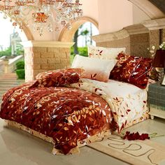 Free shipping Soft Warm Sanding Reactive printed 4pcs bedding set/Comforter set/Duvet cover set (autumn leaves)(China (Mainland))