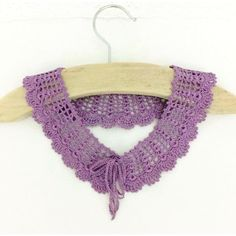 Lilac Knitted Collar Handmade Crochet Collar Knitted Lace Collar Neck... (€25) ❤ liked on Polyvore featuring accessories