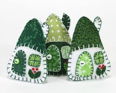 Felt christmas ornaments handmade Irish cottages Green and