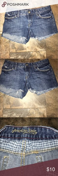 American eagle jean shorty shorts EUC size 2 American eagle jean shorty shorts EUC size 2 American Eagle Outfitters Shorts Jean Shorts