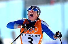 Italy's Stefania Belmondo wins the women's freestyle cross-country race in Salt Lake City, and realizes that she has just won the first gold medal of the 2002 Winter Olympic Games. Winter Olympic Games, Winter Games, 2002 Winter Olympics, Cross Country Skiing, Salt Lake City, Oakley Sunglasses, Racing, Athletes, Legends