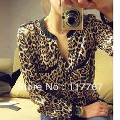 nEW Hot Sale Sexy New Women Casual Wild Leopard Shirt Long sleeved Top  Blouse S  952f4f311ec5a