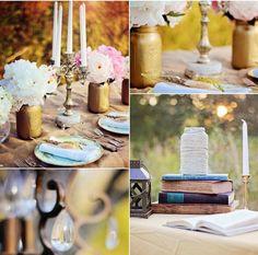 décoration vintage en anciens livres et pots en verre peints en or