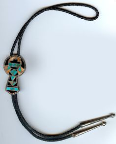 GORGEOUS VINTAGE ZUNI INDIAN SILVER INLAID TURQUOISE CORAL ONYX KEYHOLE BOLO TIE