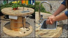 Turn a wooden cable spool into an outdoor kitchen or garden sink! – DIY projects for everyone! Wicking Garden Bed, Wooden Cable Spools, Spool Tables, Garden Sink, Outdoor Sinks, Diy Planters, Wooden Diy, Diy Projects, Diy Kitchens
