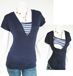 HELENA Nursing Top Breastfeeding Top Navy NEW Original Design Maternity Nursing Clothes FREE Shipping