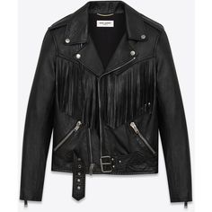 Saint Laurent Fringed Motorcycle Jacket ($6,290) ❤ liked on Polyvore featuring outerwear, jackets, coats & jackets, coats, saint laurent, rider jacket, leather moto jacket, fringe jacket, collar leather jacket and fringe motorcycle jacket