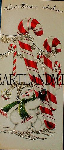 Glitter Snowman with Candy Canes Christmas by VintageDigitalShop2