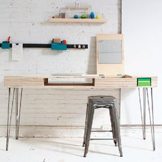 Create a multi-tasking DIY flip desk from a single sheet of plywood.
