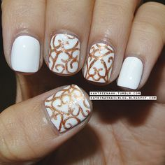 Elegant White and Gold #beauty #nails