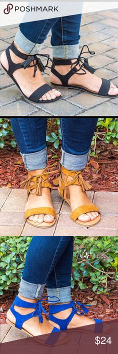 Black Tassel Lace Up Sandals Soft faux suede and a lace-up upper, these sandals are perfect for your collection.   A gladiator-inspired silhouette that is the perfect charming accessory to any outfit, dressy or casual. Brand new with box. ❌No trades. Victoria Adames Shoes Sandals