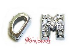 """Alphabet """"M"""" Slide Charm with Crystal Rhinestones. Create your own unique personalized name bracelet."""