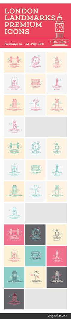 Line art illustrations presenting London landmarks.