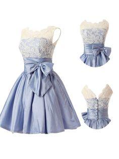 Fashion A-line Scoop Short Taffeta Blue Homecoming/Bridesmaid Dress With Bowknot