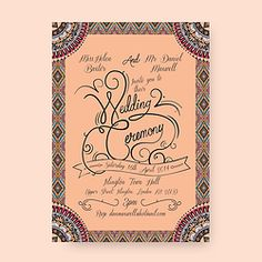 AZTECA LUXURY WEDDING INVITATION Choice of 3 fonts  CL.AM CORRESPONDENCE http://www.cl-am.com