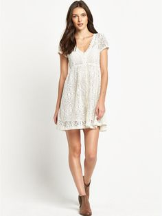 Denim & Supply - Ralph Lauren Button Front Short Sleeve Dress - Dresses - COLOUR-antique cream